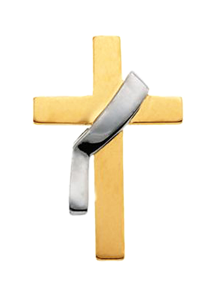 14K White And Yellow Gold Cross Pin Brooch by