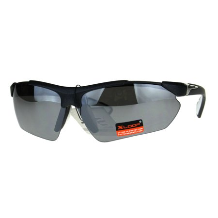 Xloop Futuristic Baseball Half Rim Sports Mens Sunglasses White Mirror ()