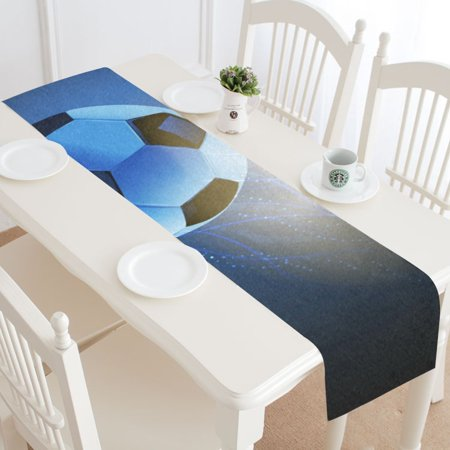 MKHERT Soccer Ball Table Runner for Wedding Party Banquet Decoration 14x72 inch for $<!---->