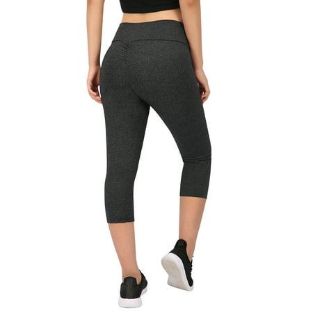 f43668181593a HDE - HDE Womens Scrunch Butt Lifting Capri Leggings High Waist Workout Gym Yoga  Pants (Charcoal, Medium) - Walmart.com