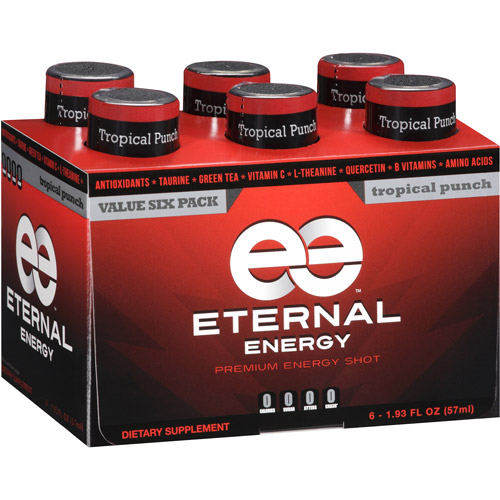 Eternal Energy Premium Energy Shot, Tropical Punch, 1.93 fl oz, 6 count