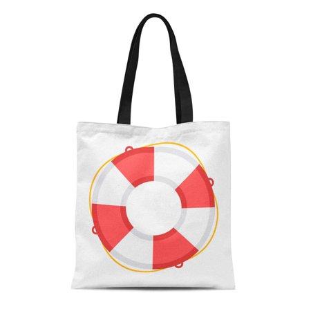 SIDONKU Canvas Tote Bag Red Preserver Life Buoy Assistance Beach Belt Circle Emergency Reusable Shoulder Grocery Shopping Bags Handbag