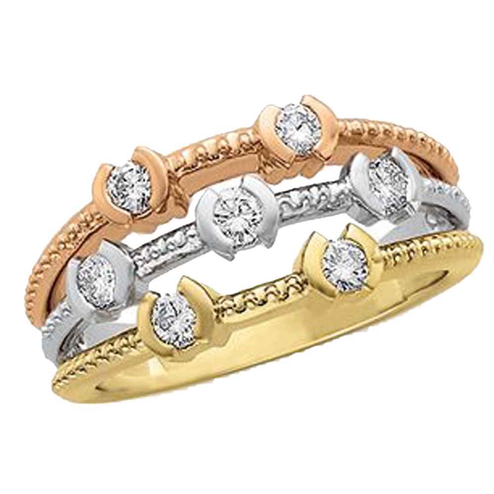 14K Yellow Gold White Diamond Three Beaded Accent Row Anniversary Band - 0.5 cttw (H,SI1)