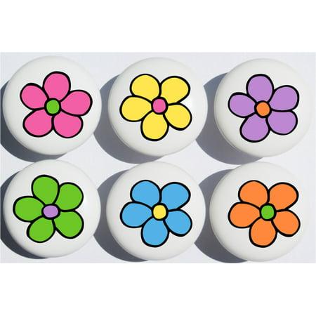 Daisy Pop Flower Drawer Pulls / Flower Ceramic Cabinet Knobs, Set of 6 - Ceramic Flower