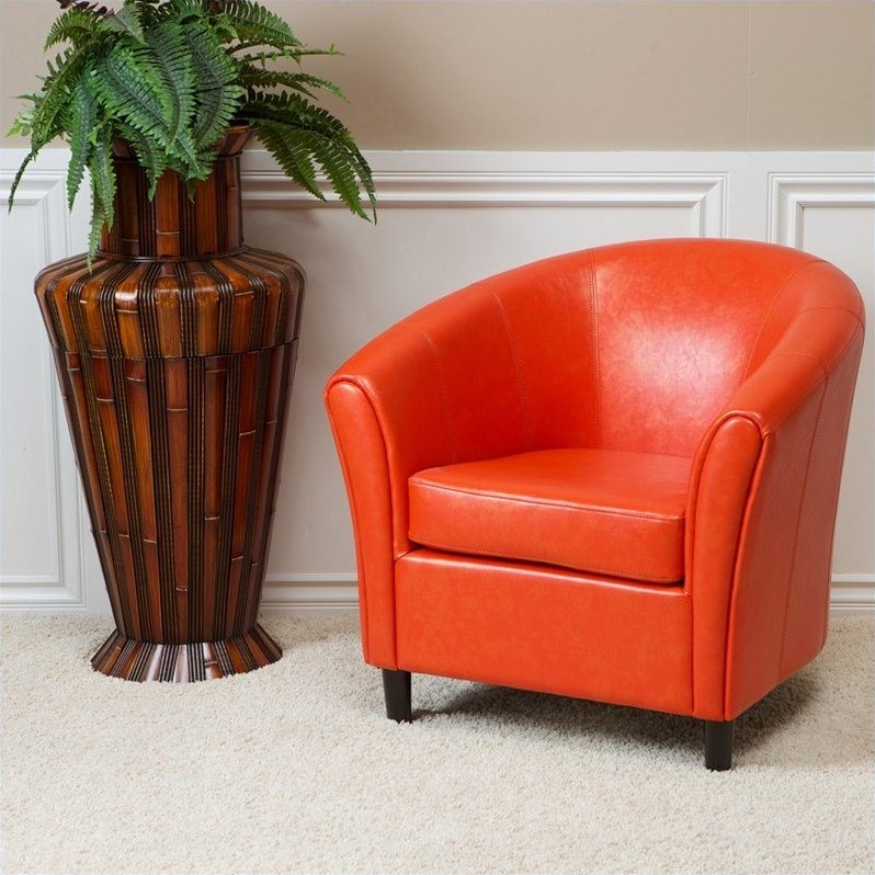 Trent Home Jean Leather Barrel Club Chair in Orange by Noble House