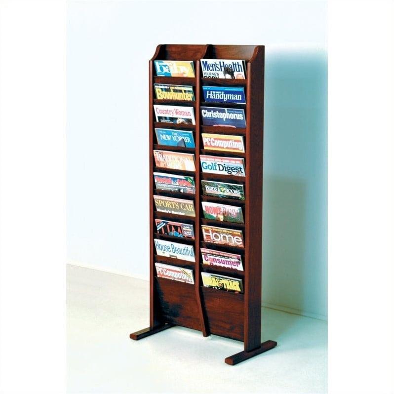 Wooden Mallet 20 Pocket Magazine Rack in Mahogany by Wooden Mallet
