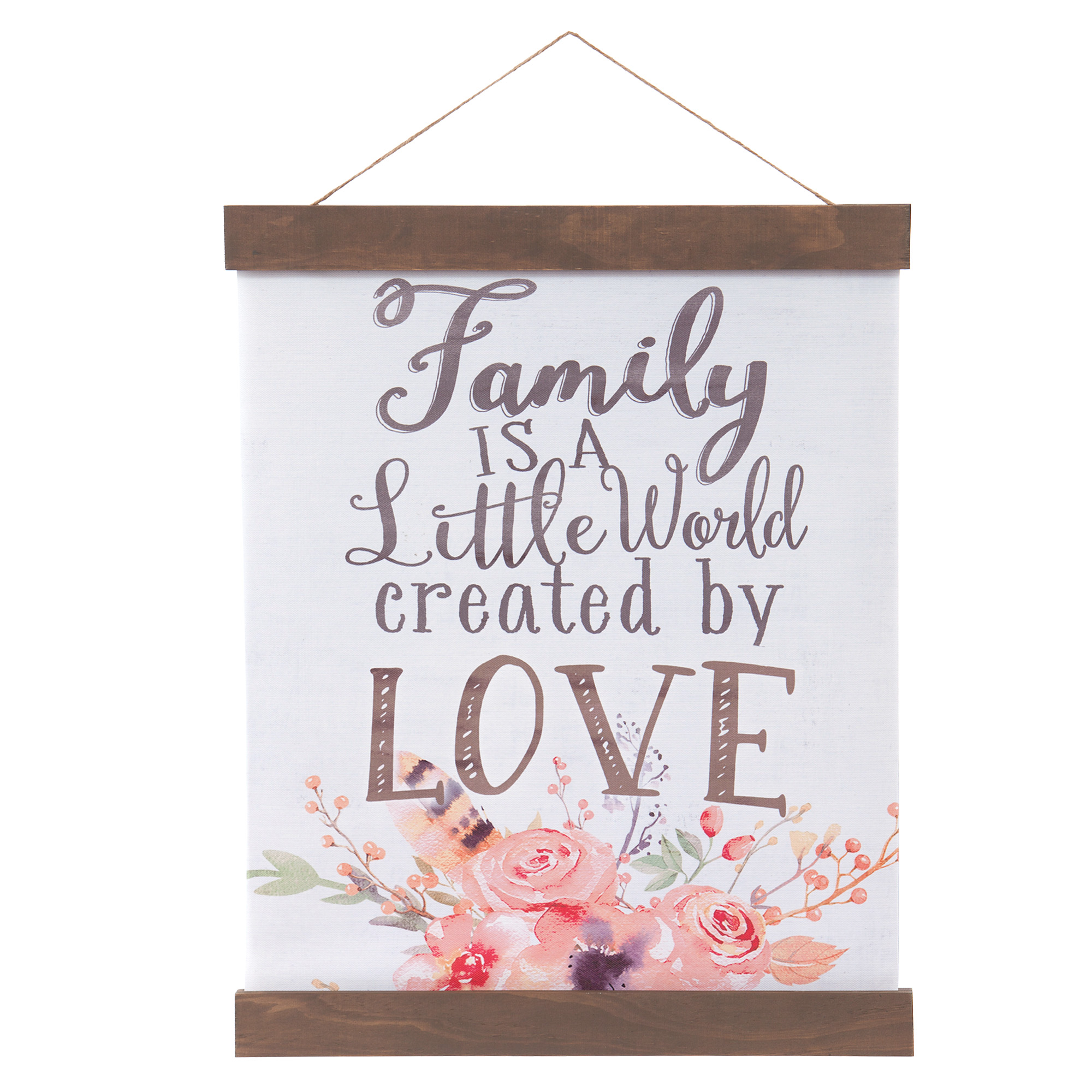 Patton Wall Decor Family Created By Love Hanging Canvas Print with Wood Detail