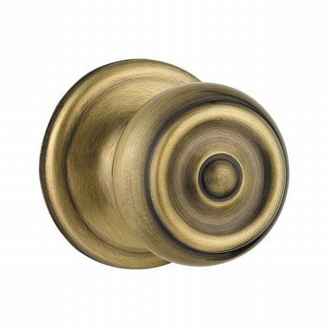 Kwikset 720PE-5BB Phoenix Passage Door Lock Antique Brass Finish in Brown Box