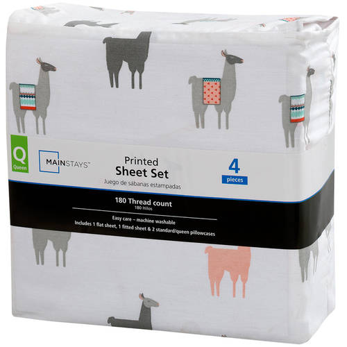 mainstays 180 thread count sheet set llama pattern
