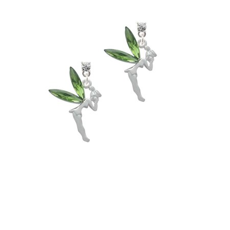 Silvertone Large Fairy with Lime Green Wings Clear Crystal Post Earrings