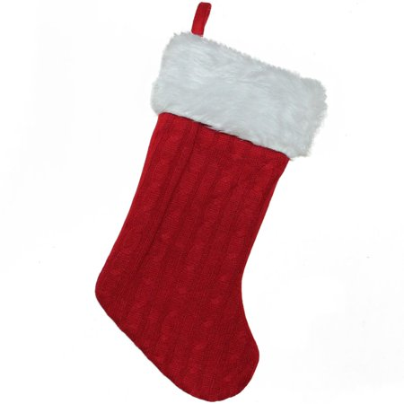 20 red and white cable knit and faux fur cuff decorative christmas stocking - White Knit Christmas Stockings
