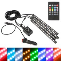 4-pack 12 LED Car Interior Atmosphere Neon Lights Waterproof Lamp Strip Music Control + IR Remote Controller
