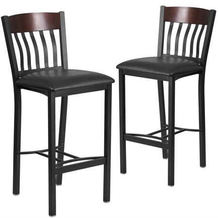 - 2 Pk. Eclipse Series Vertical Back Black Metal and Walnut Wood Restaurant Barstool with Black Vinyl Seat