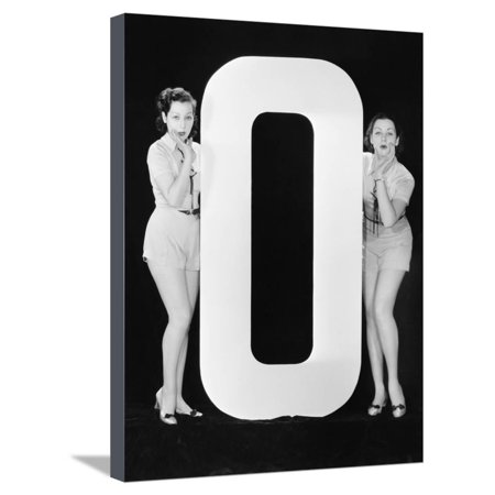 Women with Huge Letter O Stretched Canvas Print Wall Art By Everett Collection
