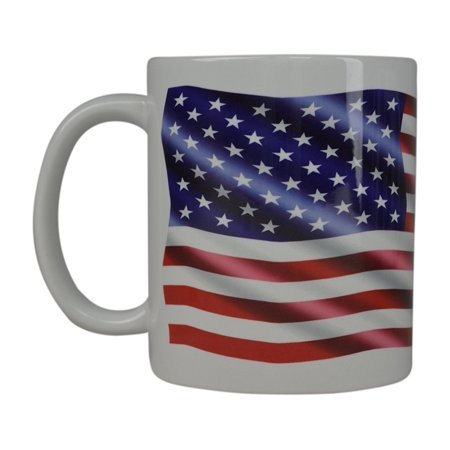 Best Coffee Mug 3D USA Flag American Patriot Novelty Cup Great Gift Idea For Men Dad Father Husband Military Veteran Conservative (Wavy)