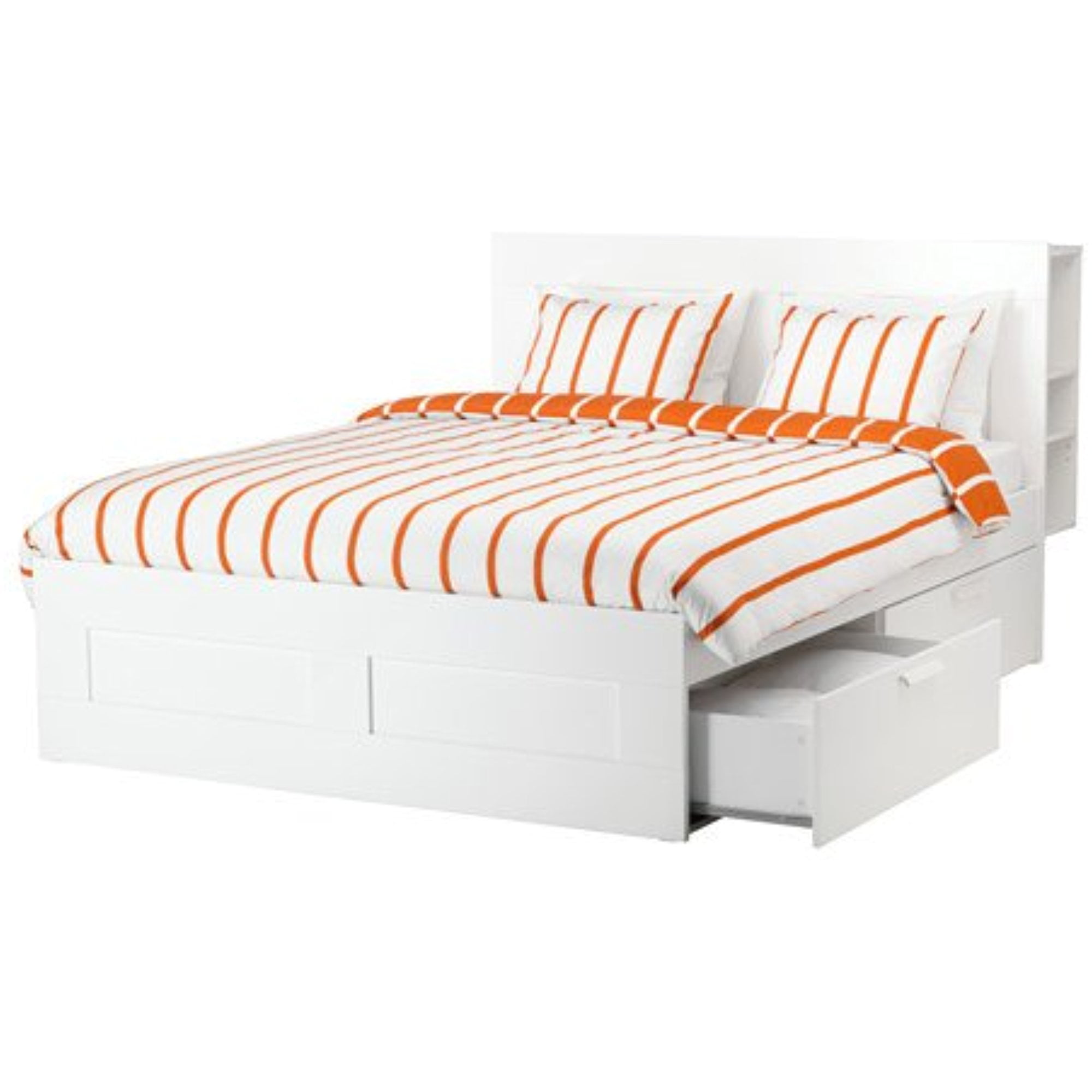 Ikea Full Size Bed Frame With Storage Headboard White Luroy 10386 82920 24 Walmart Com Walmart Com