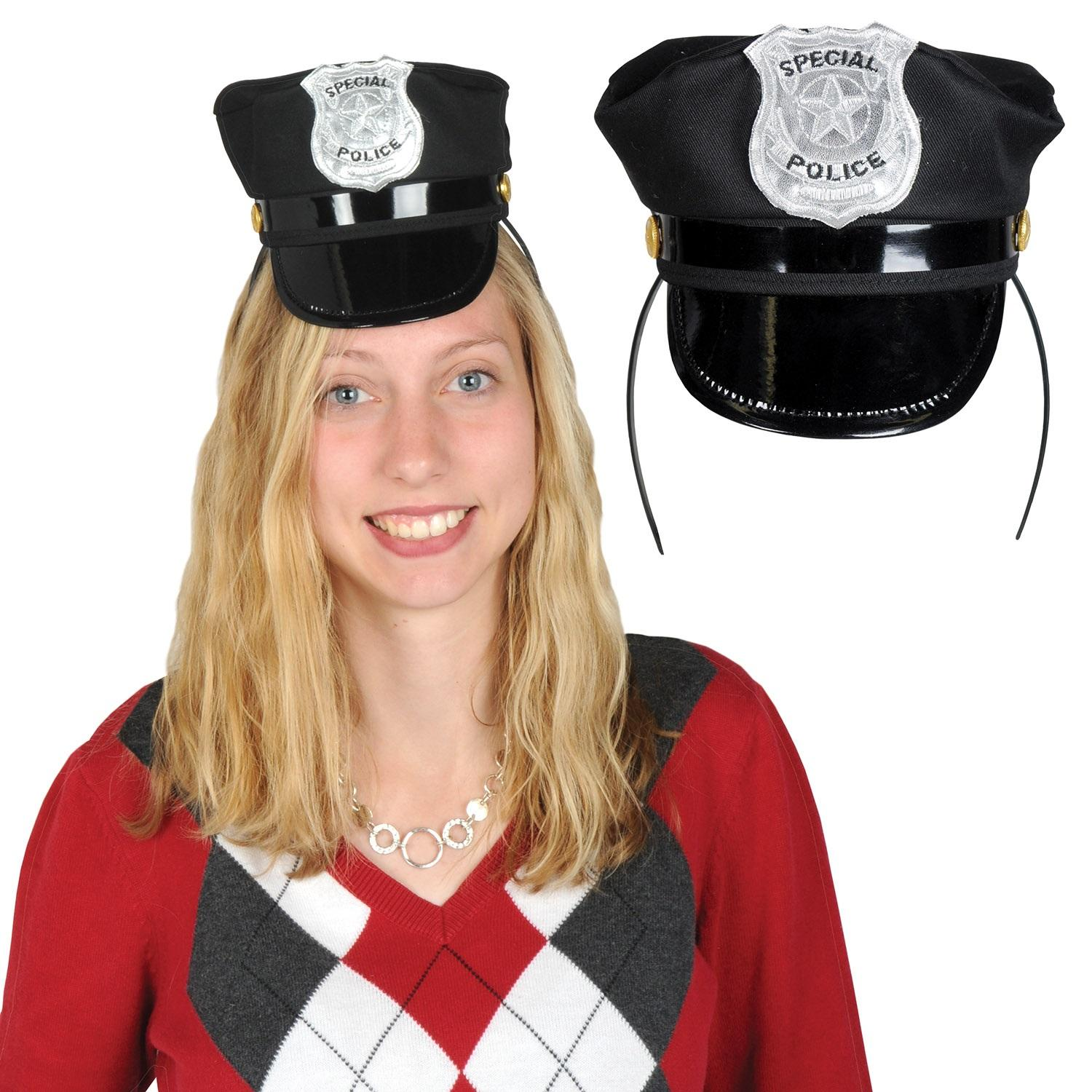 Club Pack of 12 Black and Silver Snap-on Police Hat Headband Costume 4""