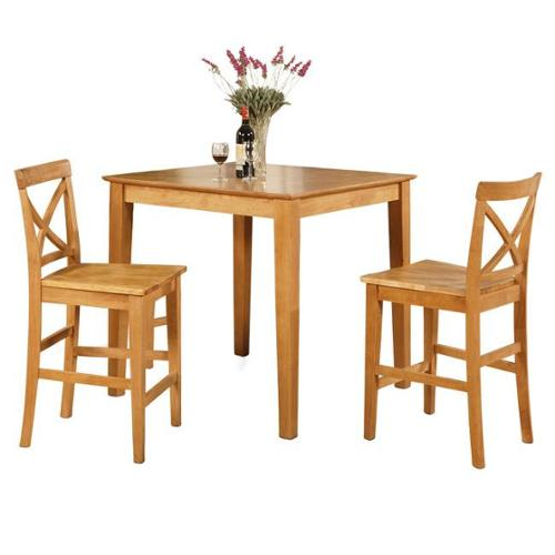 Oak Pub Table and 2 Kitchen Counter Chairs 3 piece Dining