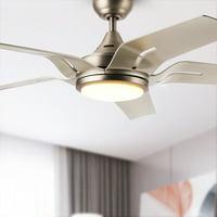 "56"" Indoor Ceiling Fan Brushed Nickel LED Light Reversible Motor &Remote w/5 Blades"