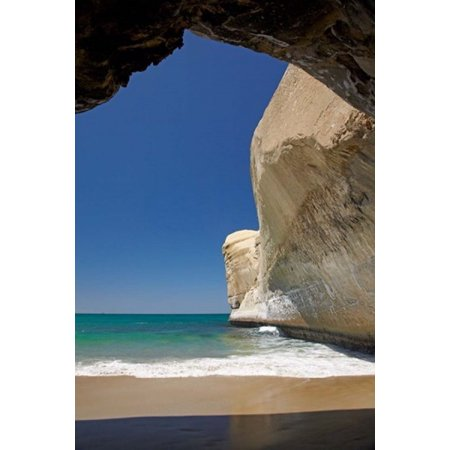 Sea cave beach and cliffs Tunnel Beach Dunedin South Island New Zealand Stretched Canvas - David Wall  DanitaDelimont (19 x 29)