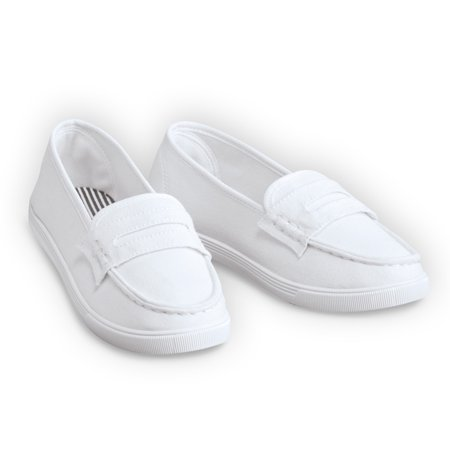 Classic Boat Shoe Loafer Slip On Canvas Sneakers, 9, White ()