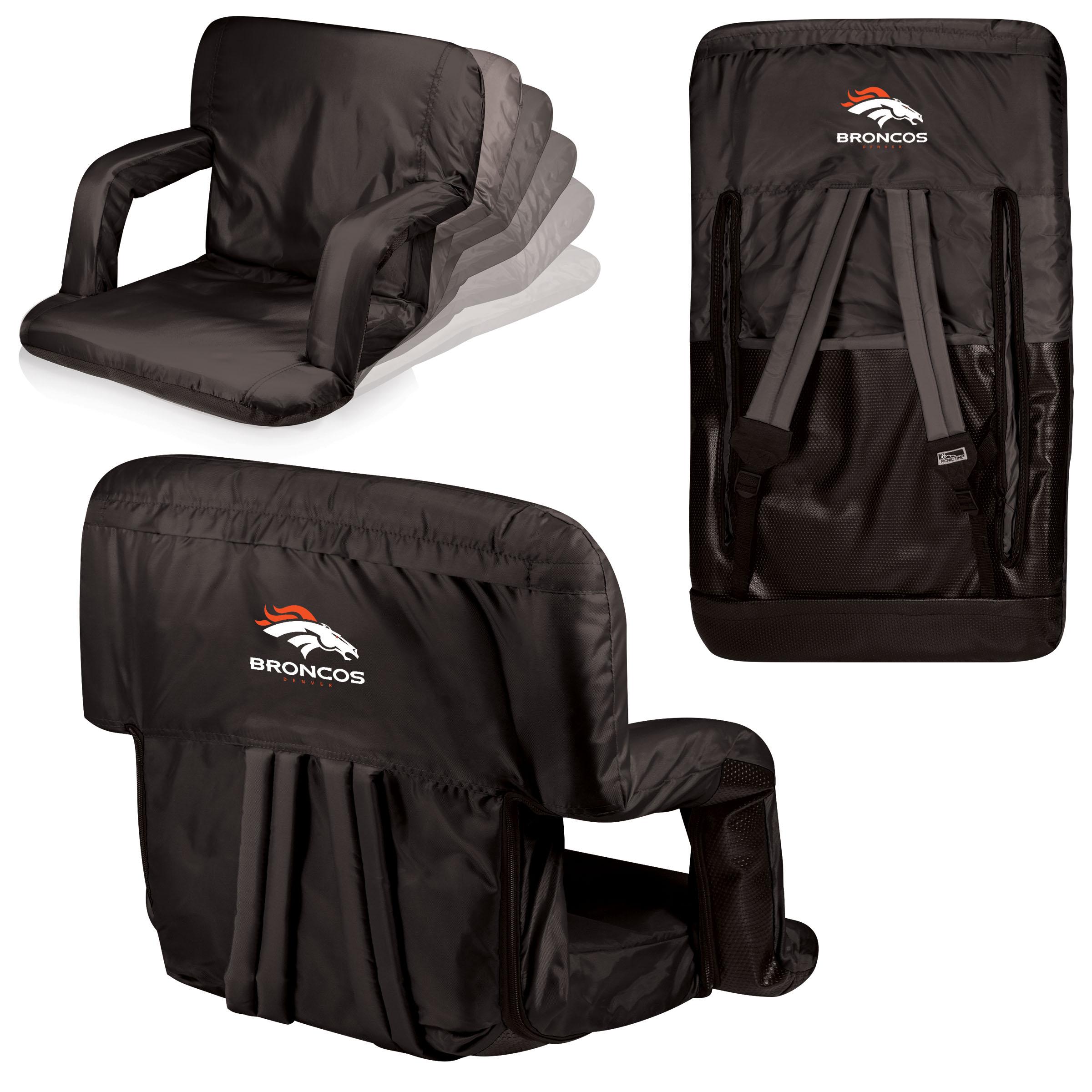 Denver Broncos Ventura Seat Portable Recliner Chair - Black - No Size