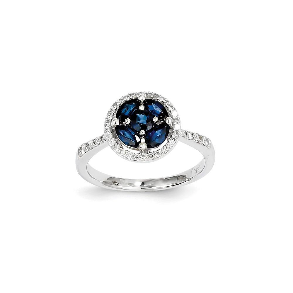 14K White Gold Diamond & Oval Sapphire Circle Gemstone Ring. Carat Wt- 1.28ct