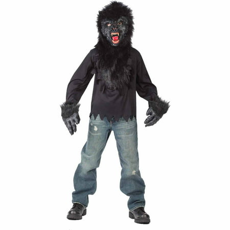 gorilla mask with gloves and shirt child halloween costume