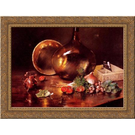 Still Life (Brass and Glass) 24x20 Gold Ornate Wood Framed Canvas Art by Chase, William (How To Choose Glasses Frames)