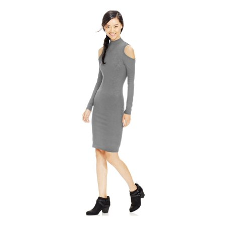 (Material Girl Womens Cold-Shoulder Rib Knit Bodycon Dress)