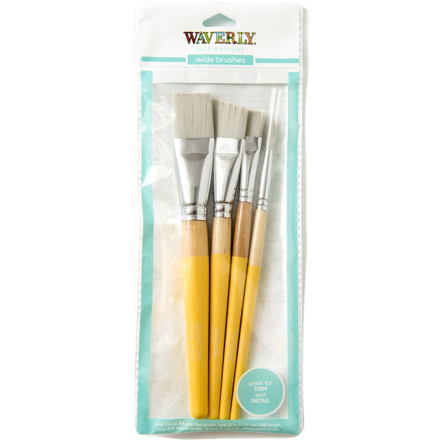 Waverly Inspirations 4-Piece Wide Brush Set for Acrylic Paint
