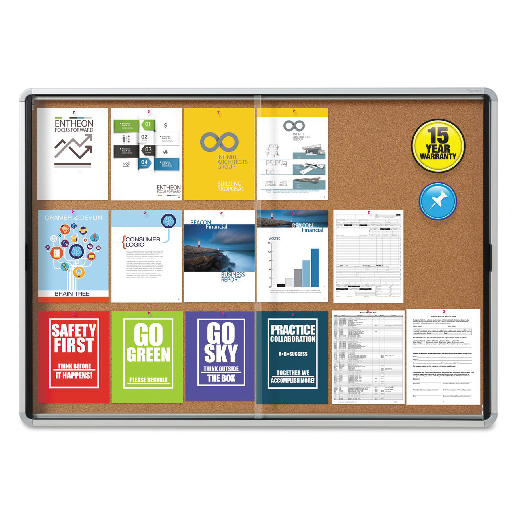 Quartet Enclosed Indoor Cork Bulletin Board w/Sliding Glass Doors, 56 x 39, Silver Frame -QRTEISC3956