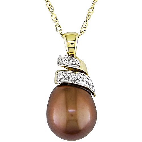 10kt Yellow Gold .01ct TDW 6.5-7mm Freshwater Chocolate Rice Pearl Pendant