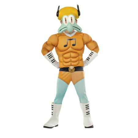 Squidward Tentacles Halloween Costume (Squidward Muscle Chest Deluxe Child Costume | Spongebob Movie Sponge Out of Water Cartoon Merchandise | Kids)
