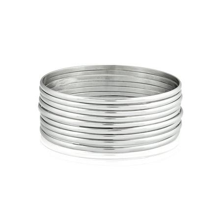 (Women's 9-Piece Stackable Bangle Stainless Steel Bracelets (3mm))