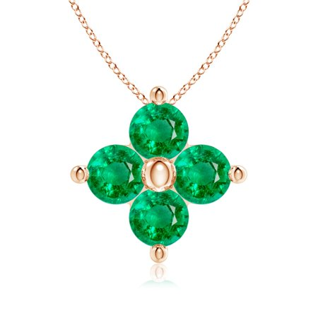 Valentine Day Sale - Classic Round Emerald Clover Pendant in 14K Rose Gold (3mm Emerald) - SP0756E-RG-AAA-3