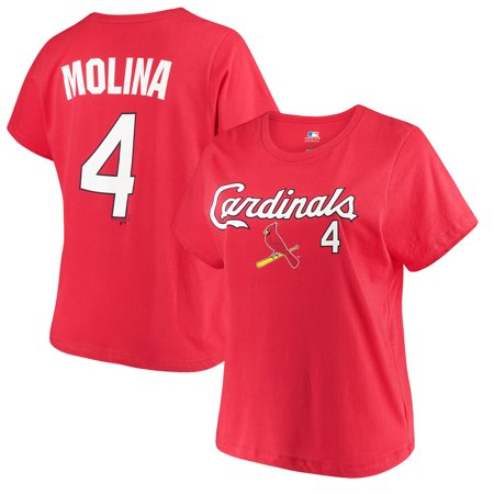 detailed look e94ed 4fb56 Women's Majestic Yadier Molina Red St. Louis Cardinals Name & Number T-Shirt