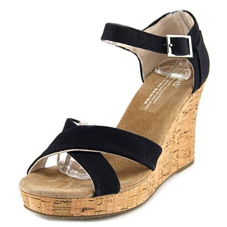 9ce55fb763b TOMS - New Toms Canvas Strape Wedge Black Cork 6.5 Womens Sandals -  Walmart.com