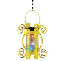 Collections Etc Colorful Solar Hanging Lantern with Scrolling Design YELLOW
