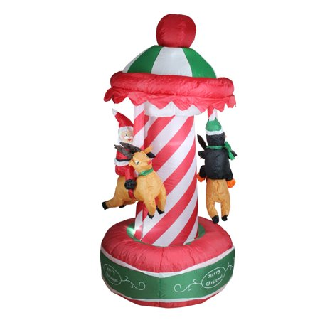 6.5' Inflatable Animated Christmas Carousel Lighted Yard Art Decoration - Christmas Inflatables