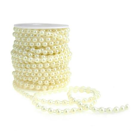Plastic Flat Back Craft Pearl String, Ivory, 6mm, 15-Yards Plastic Yard Twine