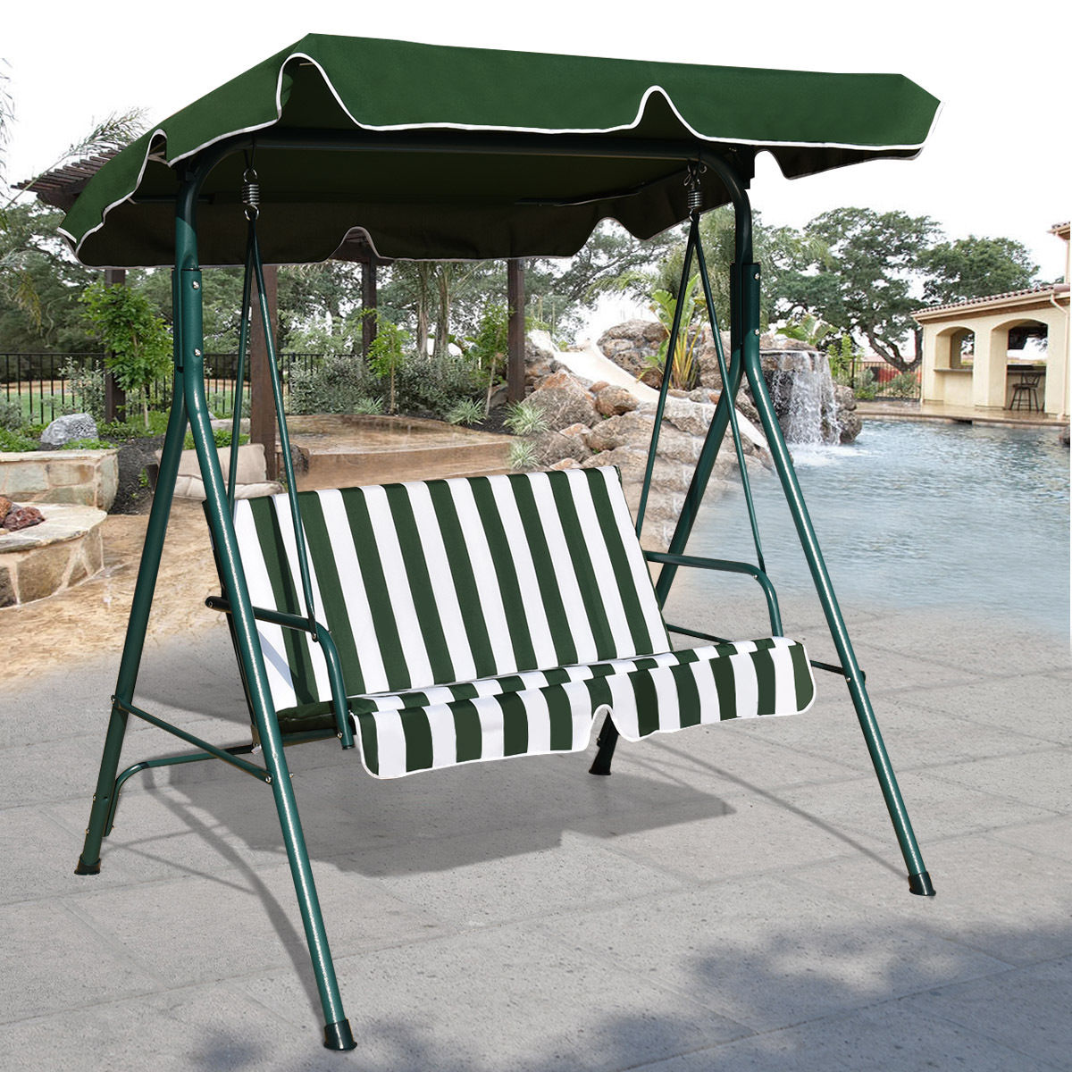 GHP Outdoor Green & White Durable Cushioned Two-Seats Swing Canopy Hammock Chair