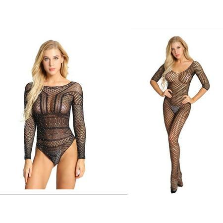 - HOT Women Sexy Mesh Net Lingerie Babydoll Underwear Body Stocking Bodysuit Lingerie Sleepwear Dress