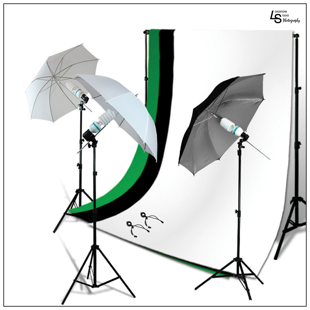 Triple Source Umbrella Continuous Lighting Kit with Backdrop Support Stand for Photography and Video by Loadstone Studio WMLS0978