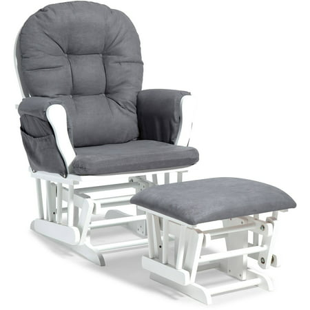 Storkcraft Hoop Glider and Ottoman White with Gray Cushions ()