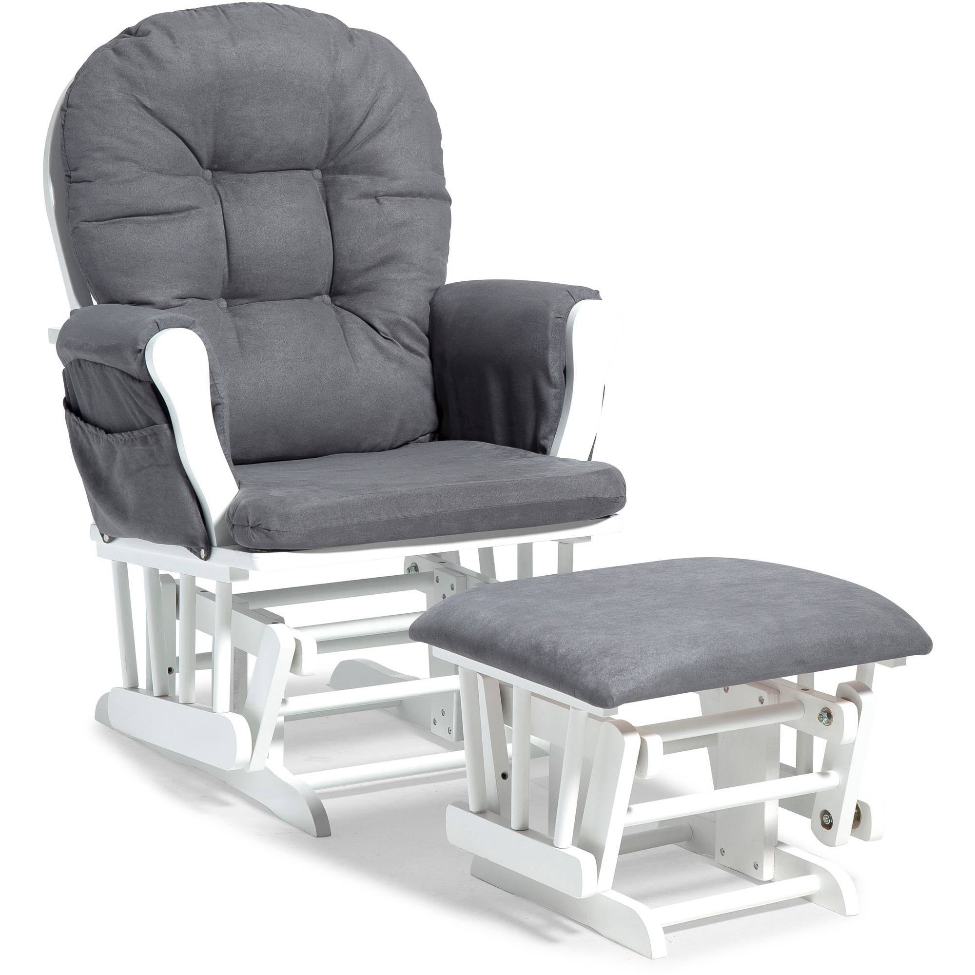 Storkcraft Hoop Glider and Ottoman White with Gray Cushions