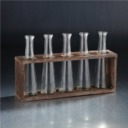 Test Tube Design Glass Vase with Wooden Stand 13.5