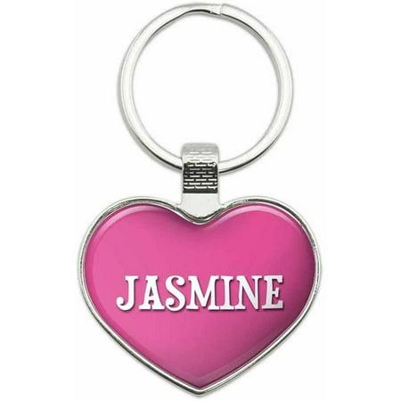 Jasmine - I Love Name Metal Heart Keychain Key Chain Ring, Pink