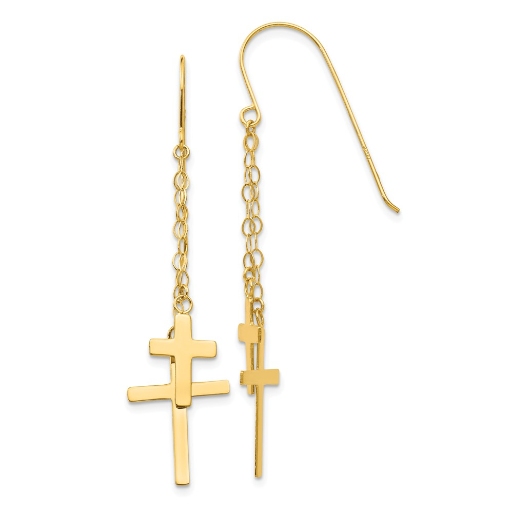 14K Yellow Gold Necklace Chain Dangle Cross Shepherd Hook Earrings (56mm x 12mm)