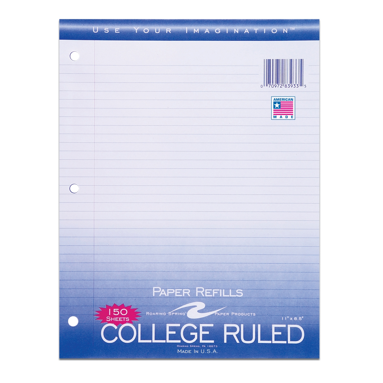 "FILLER PAPER 8.5""x11"" COLLEGE RULED WITH MARGIN"